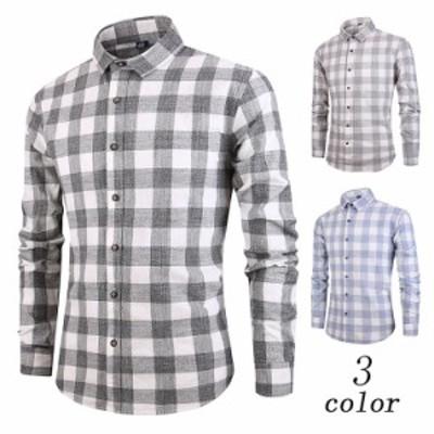 送料無料 yシャツ メンズ 長袖シャツ ビジネスシャツ ボタンダウン ワイシャツ コットン カジュアル オックスフォード 薄手 チェック柄