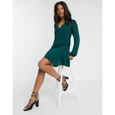 エイソス レディース ワンピース トップス ASOS DESIGN v-neck smock mini dress in forest green Forest green