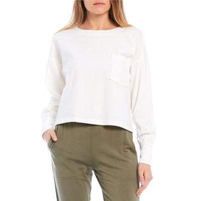 ジービー レディース Tシャツ トップス Knit Long Sleeve Cropped Pocket Tee