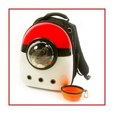 Xpect 防水透湿レッドとホワイト猫キャリアバブルバックパックペット旅行バッグモール犬 宇宙カプセル