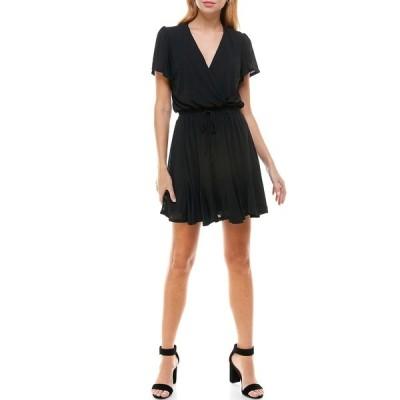 ロウエー レディース ワンピース トップス Flutter Sleeve Godet Dress BLACK