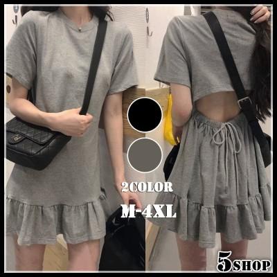 [55555SHOP]新品 大人気 高品質 ワンビース INSファッション ウエスト  背透けて 半袖 ワンピース  レディース 大きいサイズ フリル ショートスカート