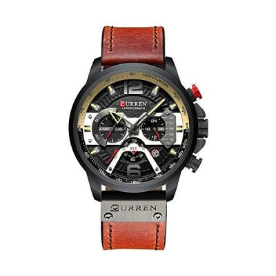 CURREN ミリタリー クロノグラフ ファッション トレンド 多機能 防水 クォーツ腕時計 レザーストラップ ブラック