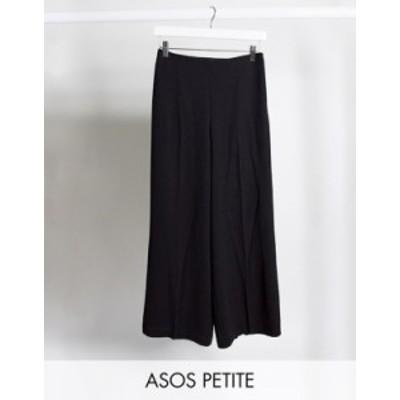 エイソス レディース カジュアルパンツ ボトムス ASOS DESIGN Petite wide leg pants with clean high waist Black