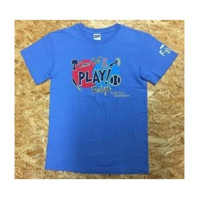 【インポート古着】 GILDAN Ultra Cotton Sサイズ メンズ Tシャツ 両面プリント 英字 イラスト 丸首 半袖 カットソー 綿100% 水色