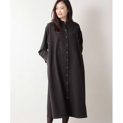 MARcourt/マーコート 【2020AW新作】MIDUMISOLID for Ladies 刺繍スタンドカラーシャツワンピース black FREE