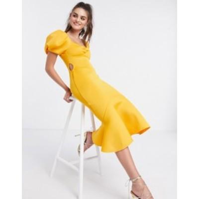 エイソス レディース ワンピース トップス ASOS DESIGN puff sleeve side cut out midi dress in marigold Marigold