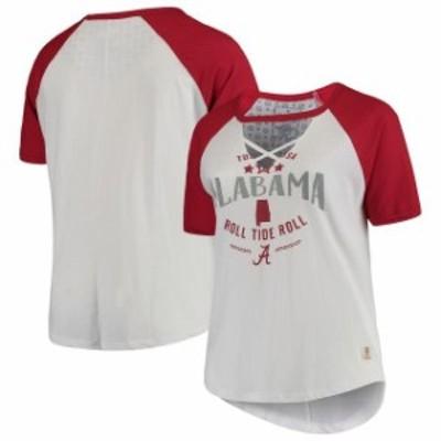 Pressbox プレス ボックス スポーツ用品  Pressbox Alabama Crimson Tide Womens White/Crimson Plus Size Abbie Criss-Cro