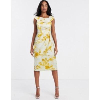 エイソス レディース ワンピース トップス ASOS DESIGN drape fallen shoulder midi pencil dress in mustard floral print Multi