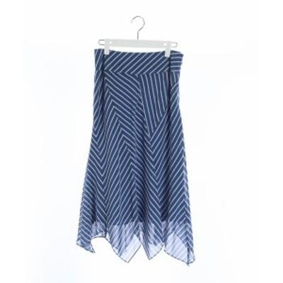 【中古】モガ MOGA フレアスカート ロング 総柄 2 青 ブルー 白 ホワイト /MR25 レディース