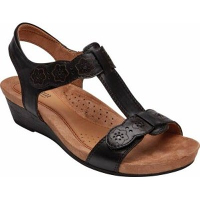 ロックポート レディース サンダル シューズ Women's Rockport Cobb Hill Hollywood T Strap Sandal Black Leather