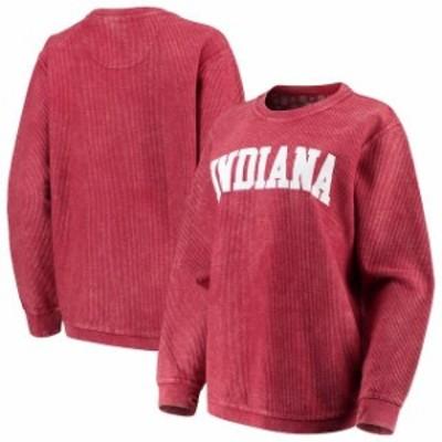 Pressbox プレス ボックス スポーツ用品  Pressbox Indiana Hoosiers Womens Crimson Comfy Cord Vintage Wash Basic Arch Pullover Swea