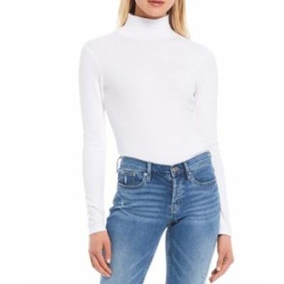 カルバンクライン レディース シャツ トップス Jeans Mock Neck Long Sleeve Bodysuit White