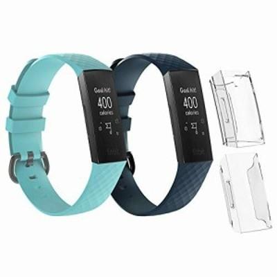 Seafirst フィットビット チャージ適用バンド+保護カバー Lサイズ Fitbit charge3/charge3 SE/charge4/charge4 SE適用ステンレス 4点セ