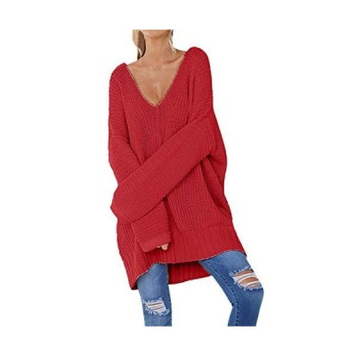 Fashion Women Casual Solid Long Sleeve Jumper Sweater V-Neck Pullover Tops