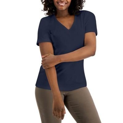 ケレンスコット カットソー トップス レディース Petite Cotton V-Neck Top, Created for Macy's Intrepid Blue