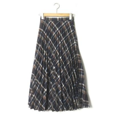 B:MING by BEAMS ビーミング バイ ビームス 19AW チェックプリーツスカート 93-27-0441-024 M ネイビー ミモレ丈 ロング フレア lc31097