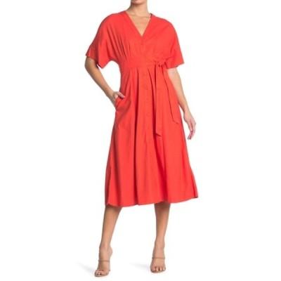 テイラー レディース ワンピース トップス Stretch Linen Blend Shirt Dress PAPAYA