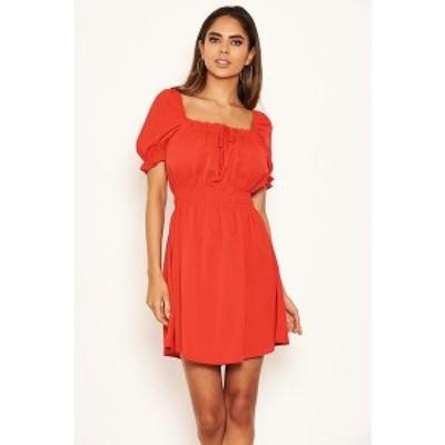 アックスパリ レディース ワンピース トップス Women's Milkmaid Neck Frill Dress Red
