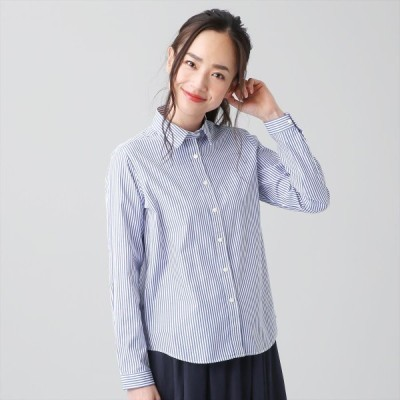 レディース ウィメンズシャツ カジュアル 長袖 レギュラー衿 綿100% 白×ネイビーストライプ