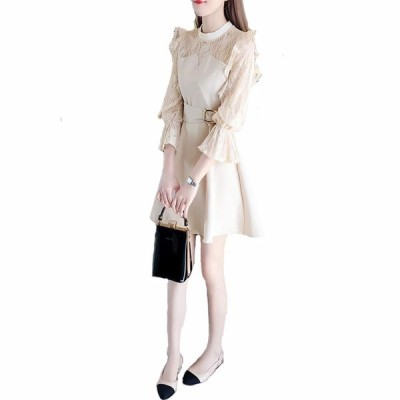CARLIE KLOSS ワンピース レディース ドレス 長袖 フレア パーティードレス Aライン ファッション カジュアル 韓国風 上品