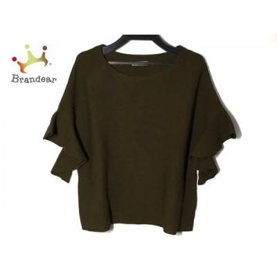 アドーア ADORE 半袖セーター サイズ38 M レディース 美品 - カーキ フリル  値下げ 20210422