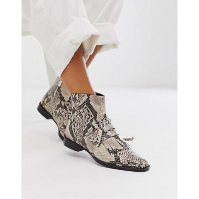 エイソス レディース ブーツ・レインブーツ シューズ ASOS DESIGN Argentina flat leather loafer boots in snake