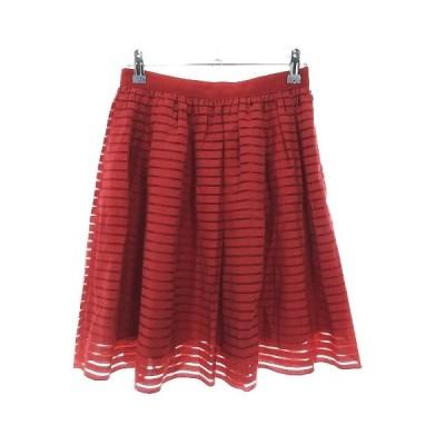 【中古】ルルウィルビー Loulou Willoughby スカート フレア ひざ丈 ボーダー 1 赤 レッド ボトムス /CK レディース 【ベクトル 古着】