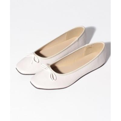 (Shoes in Closet/シュークロ)リボン スクエアトゥ  フラット パンプス  バレエシューズ  7441/レディース ホワイトクロコ
