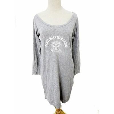【中古】パンソー Pinceau ワンピース ミニ 長袖 刺繍 38 グレー /AKK レディース