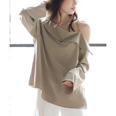 tシャツ Tシャツ チェーンデザインオフショルダー2WAYトップス/20500