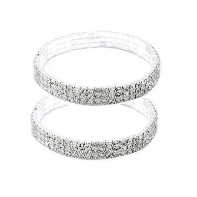 Women Rhinestone Stretch Ankle Bracelet Silver Sparking Tennis Bracelet Crystal Anklet Foot Chain Jewelry (3 Row - 2pcs)