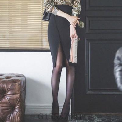 深めスリットタイトスカートひざ丈セクシーレディースおしゃれ可愛いかわいいフォーマルきれいめ大人上品清楚黒ブラック結婚式パーティー