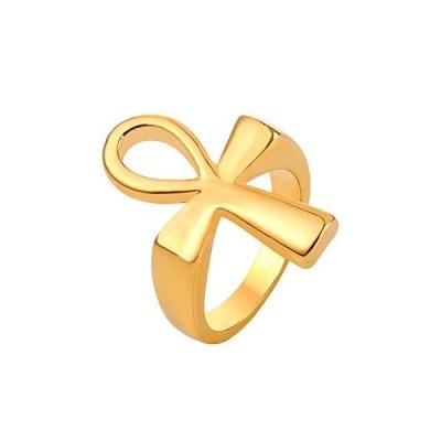 U7 アンク リング メンズ 18金 指輪 ゴールド ステンレス製 アレルギー エジプトクロス シンプル かっこいい カジュアル アクセサリー 男性