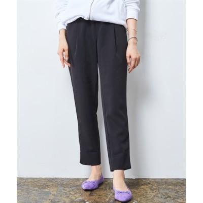 洗えるストレッチダブルクロスアウトゴム裾スリットテーパードパンツ (レディースパンツ)Pants