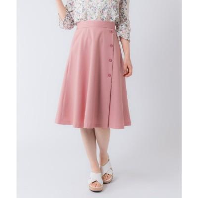 Rewde サイドボタンフレアスカート(0R10-04161)(ピンク)【返品不可商品】