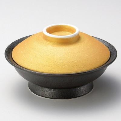 業務用食器 金彩黒油滴平蓋向 φ17.1×9.1�