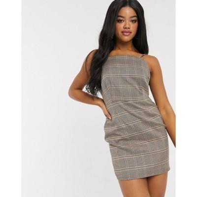 インザスタイル レディース ワンピース トップス In The Style x Fashion Influx mini cami dress in check print two-piece