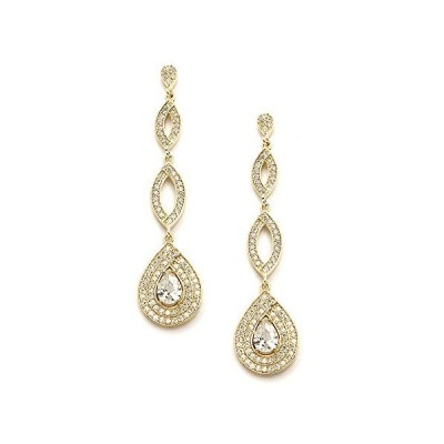 Mariell Dramatic Micro-Pave CZ Dangle Bridal Wedding Earrings with Genuine