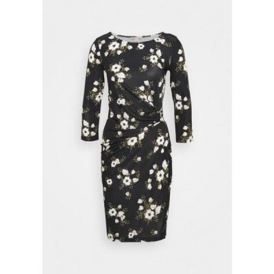 アンナフィールド レディース ドレス BODYCON QUARTER SLEEVES DRESS WITH BUCKLE - Day dress - black / pink