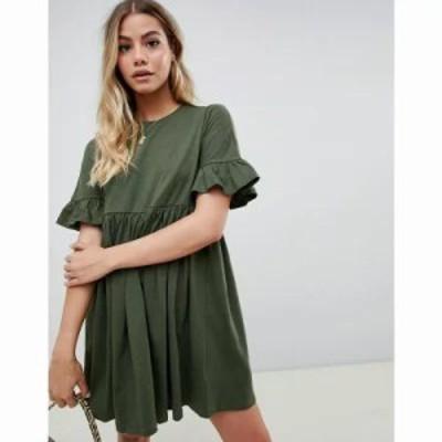 エイソス ワンピース cotton slubby frill sleeve smock dress Dark khaki