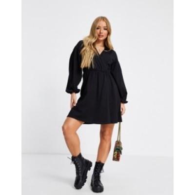 エイソス レディース ワンピース トップス ASOS DESIGN mini wrap shirt dress in black Black