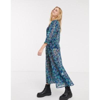 ウィークデイ レディース ワンピース トップス Weekday Vanessa floral print organza puff sleeve midi dress in multi