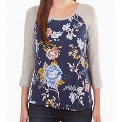 ファッション トップス Eyeshadow NEW Blue Grey Floral Print Raglan Large L Junior Knit Top
