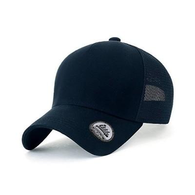 (イリリリー) ililily ブランク フロント メッシュ バック 野球 キャップ カジュアル ストラップ バック XL トラッカー 帽子 Navy