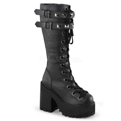 ブーツ シューズ 靴 デモニア Demonia レディース Lug Sole ダブル バックルd ストラップs Lace Up ニーハイ ブーツ ASSAULT-202 Black Vegan Leather