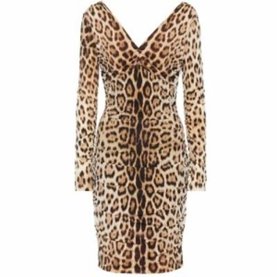 ロベルト カヴァリ Roberto Cavalli レディース ワンピース ワンピース・ドレス Leopard-print dress Tan/Black