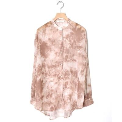 【ダブルクローゼット】 シアータイダイバンドカラーシャツ レディース ブラウン FREE w closet