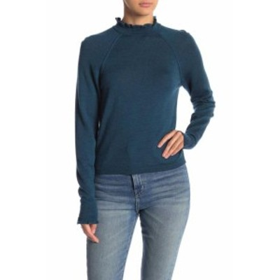 Free People フリーピープル ファッション トップス Free People NEW Blue Womens Size XS Ruffle Mock Neck Wool Sweater