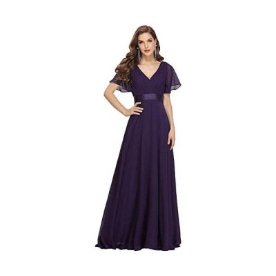 [エバープリティ] ロングドレス イブニングドレス パーティードレス ワンピース チュニック マキシスカート カラードレス (パープル S)